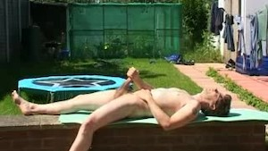 Wanking in the garden