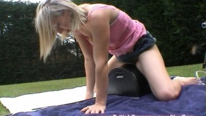 Ayla soaks her panties and rides the Sybian