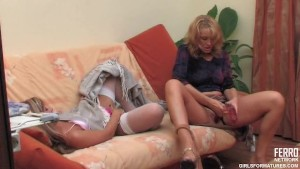 Lesbian MILF and hot girl using their toy