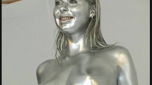 Silver painted big boob Babe