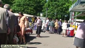 Spectacular public nudity with horny brunette