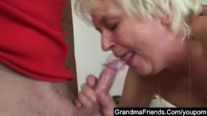Granny having fun with two students