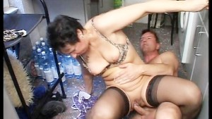Married couple have a quickie in the kitchen