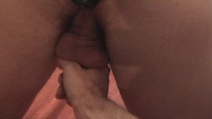 One hand onn his cock and the other playing with his ass