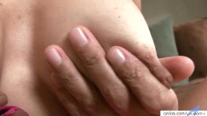 Busty mature explores her body