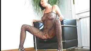 Pornstar in nylon spreading pussy
