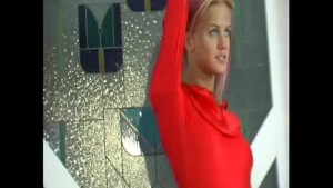 Office girl strips in red spandex