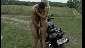 Girl gets banged outside on motorcycle