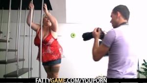 BBW takes cumshot on her huge tits