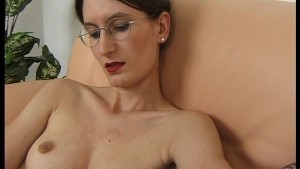 Quiet librarian looking girl masturbates