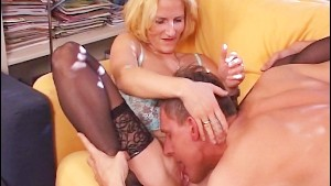 German housewife rides a cock