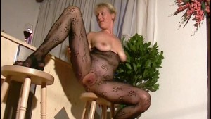 Blonde mom shows off in pantyhose outfit - Inferno Productions