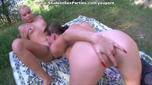Young lesbian girls make out and lick pussy