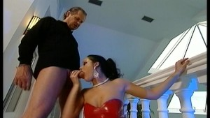 Classy raven girl takes a load in the mouth - Demolition