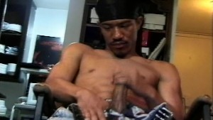 Ripped thug guy jerks his massive cock