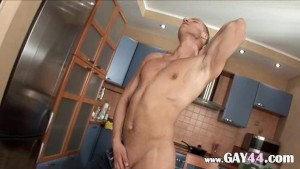 Ken masturbating dick in the kitchen