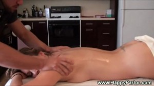 Brunette pornstar gets hot massage from masseur
