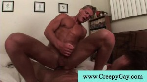 Amazing blond muscled guy jumping