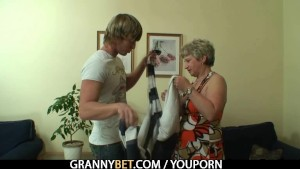 Hot guy bangs lonely granny