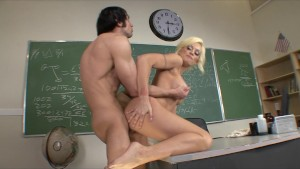 Horny Big-tit blonde school teacher fucks student s dick in class