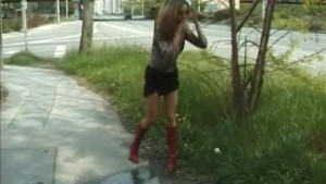 young cute girl pissing