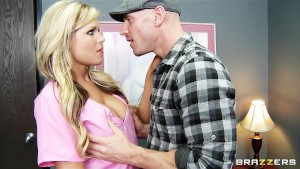 Stunning busty blond nurse Darcy Tyler helps her patient get off
