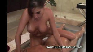 Horny masseuse dry humps her clients hard dick during massage