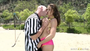 Sexy busty brunette Chanel Preston fucks her volleyball Referee