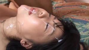 Beautiful Tsubomi face covered in cum!