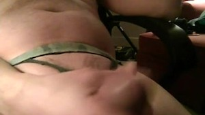 Masturbating with cum stained homemade thong