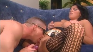 Brunette with big tits fucked in nylons and garter