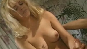 Blonde in Pink Jerk-off Messy Cock