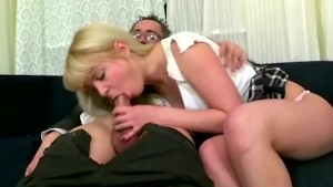 Horny old teached fucks his young blonde student in his office instead of additional classes