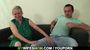 She finds her old mom sitting on her BF s dick