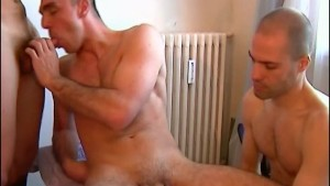 Our assistant get sucked by 2 athletic french guys with huge cock !