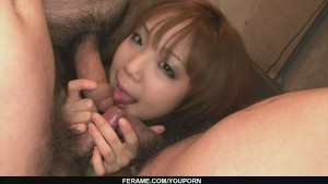 Filthy and cock-hungry Asian pervert, Mizuki Ishikawa gagging random cocks and fucked