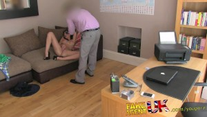 FakeAgentUK Slim and sexy MILF knows how to handle agents cock