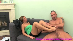 FemaleAgent MILF indulges stud in his foot fetish