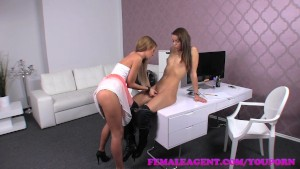 FemaleAgent First lesbian experience for shy gorgeous amateur
