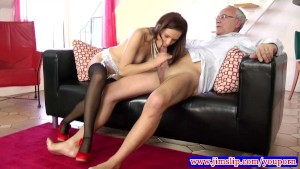 Teen amateur in stockings fucked by old man