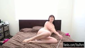 Busty Brunette Envy Vibrates Her Pink Quim