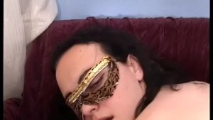Masked french babe rides and fucks like a champ