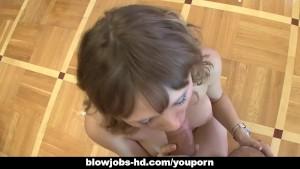Horny slut Alona gulps down a big fat dick