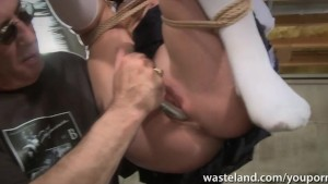 Wearing knee high socks tied up in rope and made to orgasm