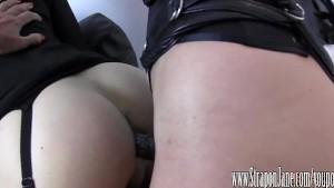 Femdom Strapon Jane fucks crossdressers tight virgin ass until she cums