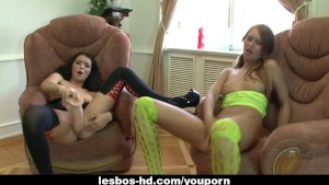 Lesbian hotties have fun with brutal dildos