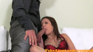 FakeAgent Shy brunette gets Spunk in her Eye in Casting