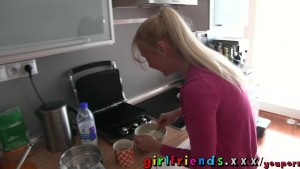 Girlfriends Hot blonde and brunette have hot lesbian sex in kitchen