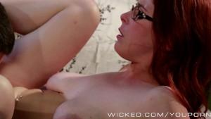 Sexy Redhead Penny Pax sucks dick
