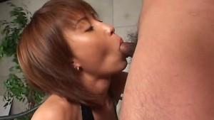 Slim Japanese slut falls to her knees for a blowjob uncensored